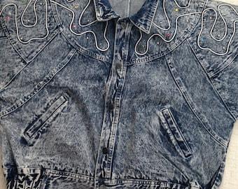 Lucky Strike 80s vintage Washed Studded Colourful Crystallized Oversized Jean Jacket