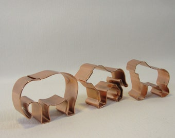 Vintage Copper Cookie Cutters Animal Cookie Cutters in Box Set of 3