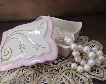 Vintage Shabby Chic French Trinket Box Provencial Pink Gold Storage Box