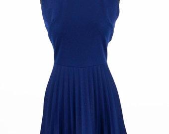 Vintage 1960s Navy Blue Sleeveless Pleated Skirt Mod Dress Size S