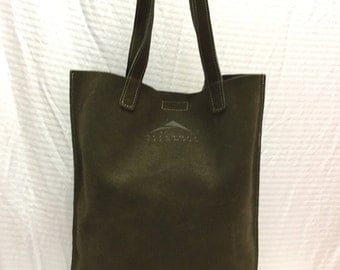 Roots Canada, Green Suede Leather Tote, Bag, Purse, Shoulder bag