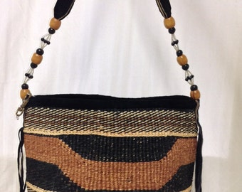 Free Ship Sisil Bucket Purse Beaded Leather Strap Shoulder Bag