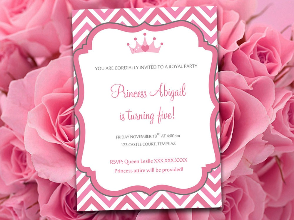 princess birthday party invitations template