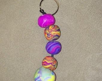 Handmade Polymer Clay Beaded Key Chain