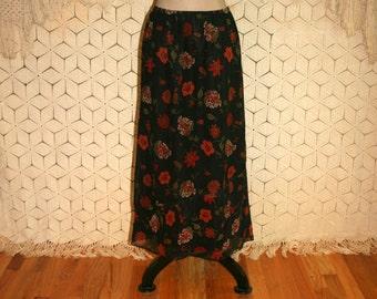 Black Floral Skirt Chiffon Silk Skirt Petite Small Romantic Boho Skirt Earthy Red Rust Floral Print Skirt Laura Ashley Womens Clothing