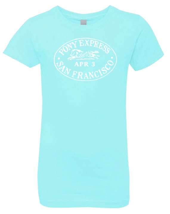 Pony Express Youth Girls Tee, Blue Horse Shirt, Equestrian Clothing, Riding Clothes, Vintage Stamp, English Western