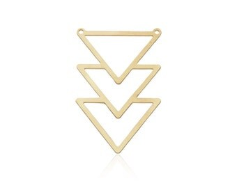 Raw Brass Chevron Pendant, 1 Pc, Brass Triangles Pendant, Laser Cut Findings, Brass Geometric Jewelry, Large Chevron Charm, Brass Findings