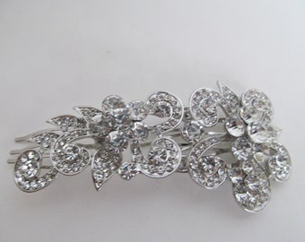 Wedding hair accessory   wedding hair clip bridal head piece bridal rhinestone hair clip head piece crystal hair clip, long  hair clip