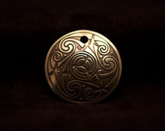 Celtic Art Spiral Pendant, Etched in Brass from The Book of Kells, made in Scotland.