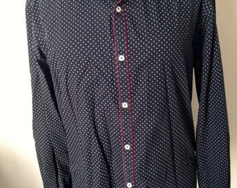 Men's shirt, size M, cotton, black, white, bordeaux details