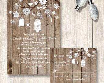Winter Wedding Invitation, Mason Jar And Snowflake Wedding Invitations,  Rustic Winter Wedding Invite/