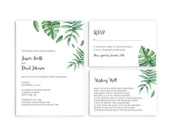 Tropical Wedding Invitation, Leaf Wedding Invitation, Green Wedding Invitation, Watercolor Invitation