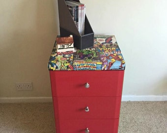 REDUCED Three Drawer Multicoloured Unit Chest of Drawers Marvel Superheros Thor Captain America Spiderman Hulk X Men Iron Man Hero
