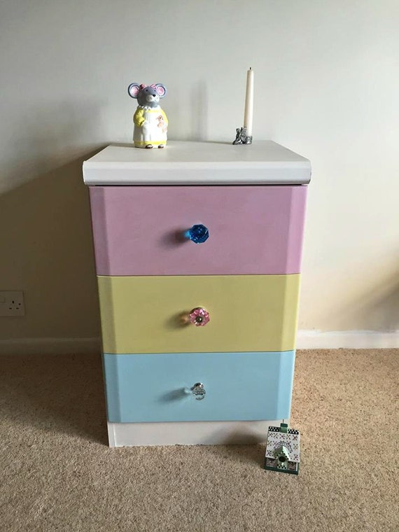 Pastel Side Table ~ Huge reduction pastel drawers bedside end table crystal