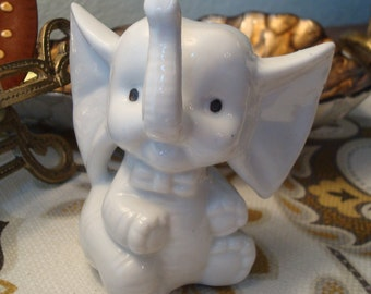 Vintage Porcelain White Elephant Figurine - Sweet - Excellent Condition!!