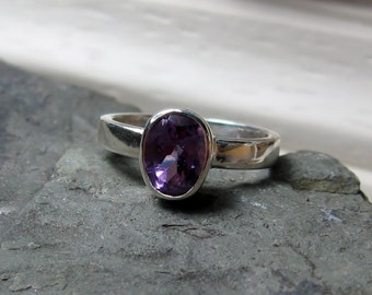 Amethyst Gemstone Sterling Ring, Ready to Ship, Size 4.75