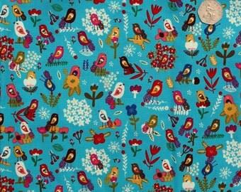 Quilt fabric. Bird fabric. Blue fabric. Cotton fabric. Organic fabric. Windham Petit Fleur Whimsical Bird Blue. Sold by QUARTER METRE.