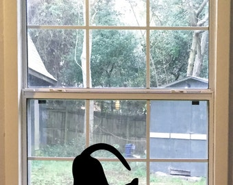 Large Stretching Black Cat Silhouette Vinyl Decal, Cat Wall Decal