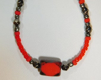 Red and Gunmetal Eyeglass Chain, Eyeglass Leash, Holder, Reading Glasses, Sunglasses, Red Czech Beads