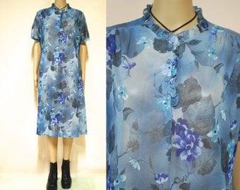 70s Vintage Sheer Floral Dress Green Blue Retro Boho Hippie Mid Length Vtg 1970s Size M-L