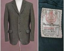 Vintage Harris Tweed Blazer, 1950's Green wool jacket, Gentlemen's Country attire, three button, single breasted, suit style blazer, Dapper