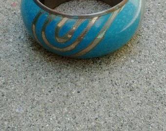 Vintage 80s India Brass and Enamel bangle