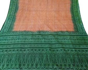 Vintage Pure Silk Fabric Brown Sari Sarong Drape Bandhani Printed Fabric Dress Recycled Sari Women Wrap Indian Sari 5Yard PS37038