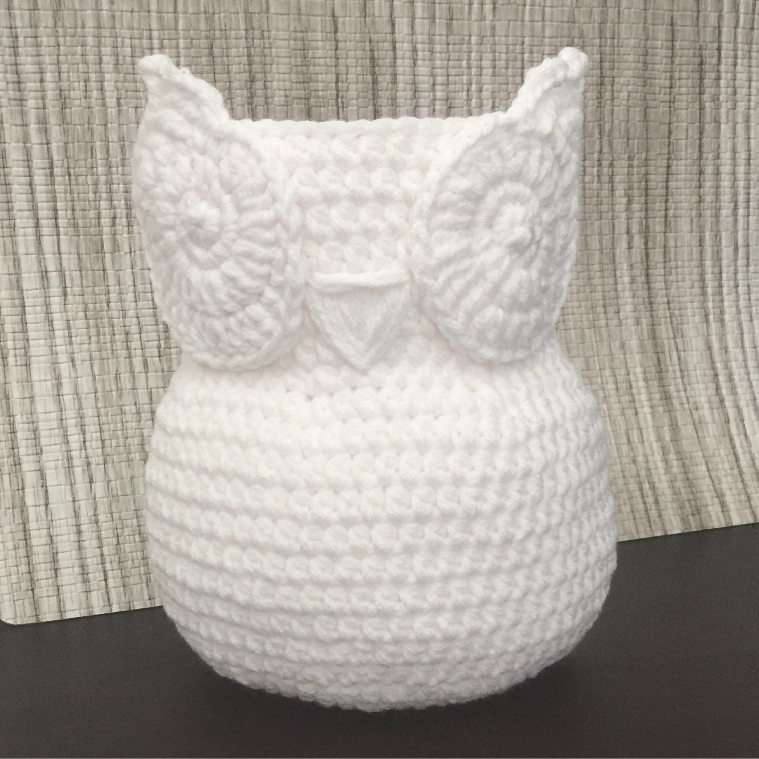 White miniature chic handmade crochet owl basket home decor zoom bankloansurffo Images