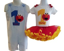 Toddler Twin Boy & Girl Personalized Sesame Street Elmo Birthday Outfit, My First Birthday Outfit, Set Includes Onesie, Tutu, Boy Jumper