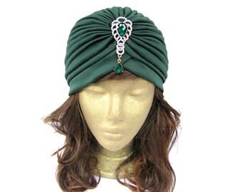 Womens Turban, Fashion Turban, Ladies Turban Hat, Green Turban Hat, 1940s Turban Hat with Rhinestone Jewelry, Gift Idea