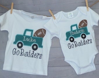 Personalized Initial Truck with Football Applique Shirt or Onesie