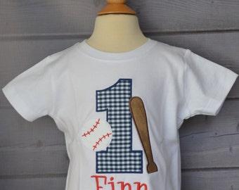 Personalized Birthday Baseball & Bat Sports Applique Shirt or Onesie Girl or Boy