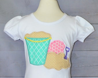 Personalized Sand Beach Pail Bucket Crab Shovel Applique Shirt or Onesie Girl or Boy