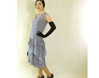 Grey Great Gatsby dress with handkerchief skirt, 1920s flapper dress, Downton Abbey dress, Charleston dress, 20s fashion, robe annee 20,