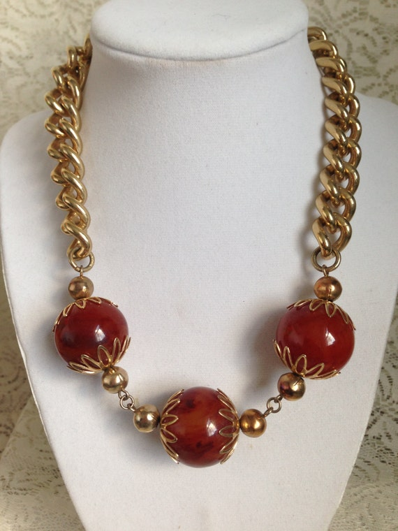 Vintage  Chunky Gold Metal  Link with 3 Large Amber Color Balls  Necklace