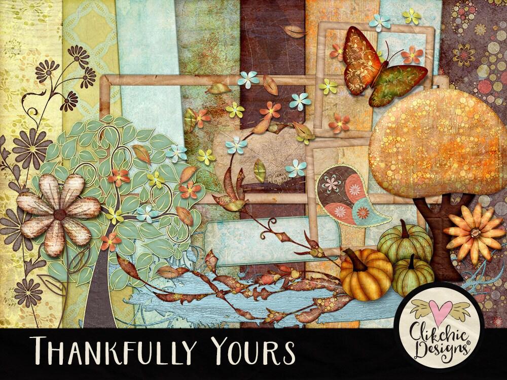 Fall Digital Scrapbook Kit Clip Art Thankfully Yours
