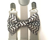 Light gray suspenders and gray and silver metallic chevron bow tie set baby boys boy teens adult family photoshoot wedding formal ring beare