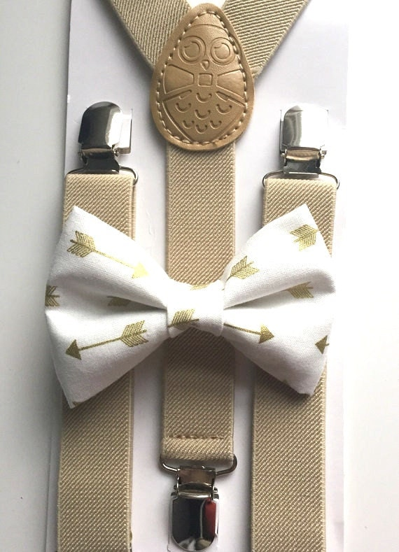 Tan Suspenders and Gold Arrows Bow Tie