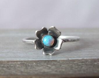 Sterling Silver Opal Flower Ring, Flower Stacking Ring, Delicate Flower Ring, Opal Flower Ring, Silver Cherry Blossom Ring