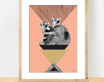 Trendy Modern Print, Lemures Poster, Minimalist Print, Modern Collage, Geometric Art, Triangles Pyramide Art, Pink & Gold, A3 print