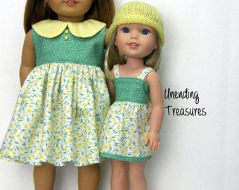 18 inch doll clothes AG doll clothes yellow peter pan collar dress