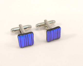 Murano Glass Cufflinks, Dichroic Glass Cufflinks, Venetian Jewels