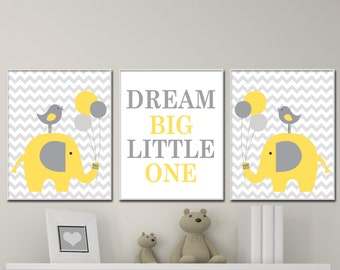 Yellow And Gray Elephant Nursery Art, Elephant And Dream Big Little One Quote, Yellow And Gray Nursery Decor- N1663,1660,1664