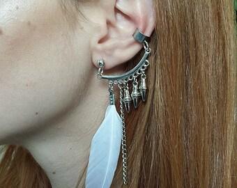 Ethnic Ear Cuff, Silver Tone Single Earring, White Feather Ear Cuff, Festival Ear Jacket