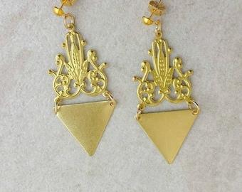 Chandelier Brass Earrings, Triangle Statement Earrings, Bohemian Etsy Gift, Festival Jewelry