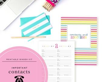 Contacts & Addresses Binder Kit  - A Printable PDF