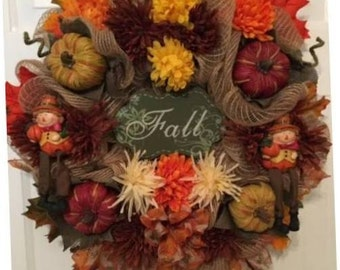 Fall Wreath, Thanksgiving Wreath, Autumn Wreath, Burlap Wreath, Holiday Wreath, Fall Decor, Thanksgiving Decor