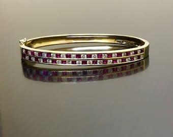 18K Yellow Gold Diamond Ruby Bracelet - 18K Gold Bangle Diamond Bracelet - 18K Diamond Ruby Bangle Bracelet - Princess Cut Ruby Bracelet