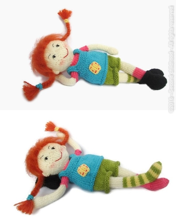 Knitted stuffed doll Pippi longstocking by SecondChildhoodToys