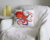 Orange Octopus Pillow, Sea Creature Pillow, Octopus Art, Octopus Pillow, Nautical Pillow, Accent Pillow, Coastal Throw Pillow Cover